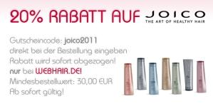 www.webhair.de gibt 20 % Rabatt auf Joico